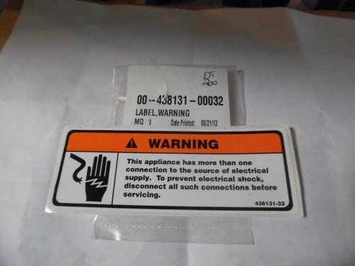 Hobart Vinyl Warning Label 438131-32