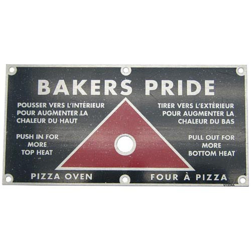 Bakers Pride Push Pull  Nameplate U1224A