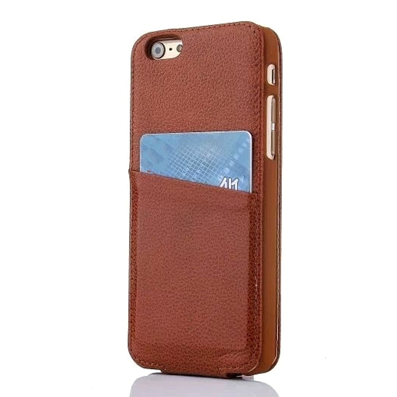best loved 95239 f96d0 iPhone 6 6S Card Slot Leather Flip Case Brown