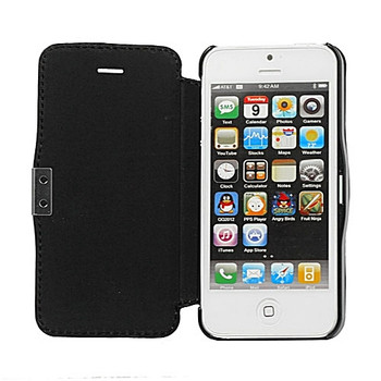 iPhone 5 5S Leather Wallet Magnet Case Black