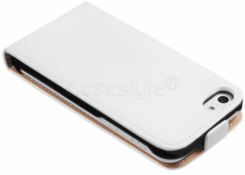 iPhone 5C Ultra Slim Genuine Leather Flip Case White