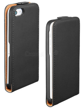 iPhone 5C Ultra Slim Genuine Leather Flip Case Black