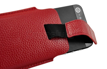 iPhone 5S/5C/5/4S Genuine Leather Pouch Case Red