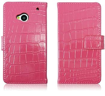 HTC One 1 Crocodile Wallet Case Genuine Leather Pink