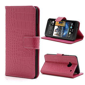HTC One 1 Crocodile Wallet Case Genuine Leather Pink