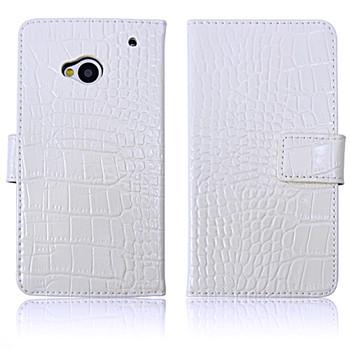 HTC One 1 Crocodile Wallet Case Genuine Leather White