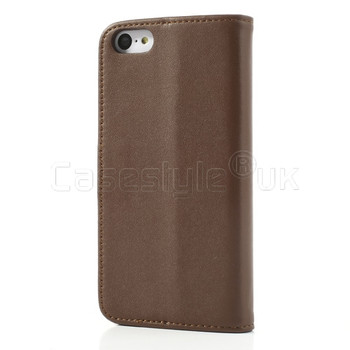 iPhone 5C Leather Wallet Case Brown