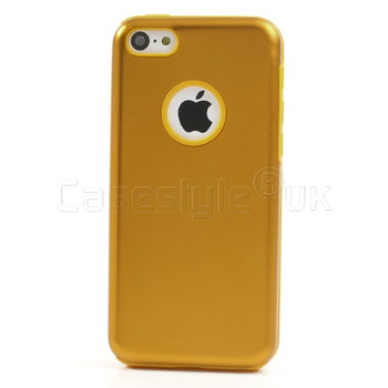 iPhone 5C Metal Back+Silicone Case Gold