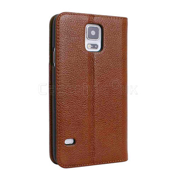 Samsung Galaxy S5|S5 Neo Genuine Leather Wallet Case Brown