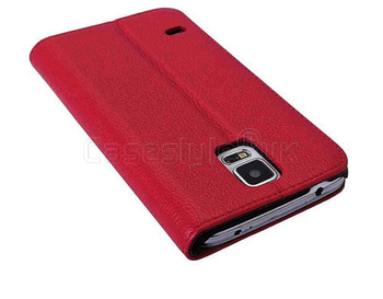 Samsung Galaxy S5|S5 Neo Genuine Leather Wallet Case Red
