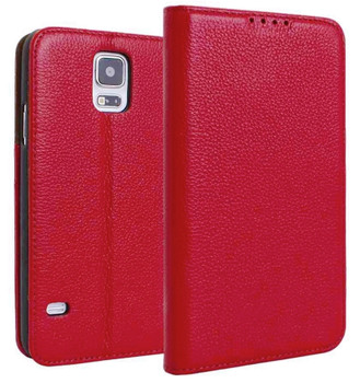 Samsung S5 real leather wallet red