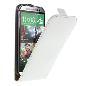 HTC one M8 flip case white