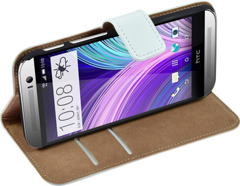 HTC 1 One M8 Leather Wallet Case White