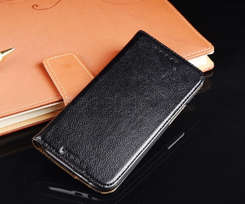 HTC One M8 Real Leather Wallet Case Black