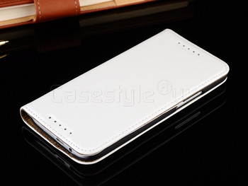 HTC One M8 Real Leather Wallet Case White