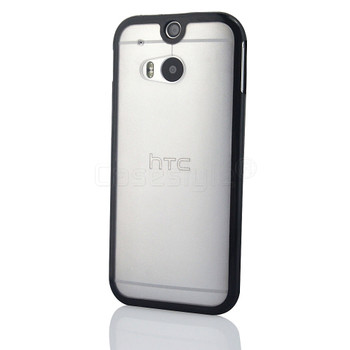 HTC One 2 M8 Bumper Case Clear Back Black