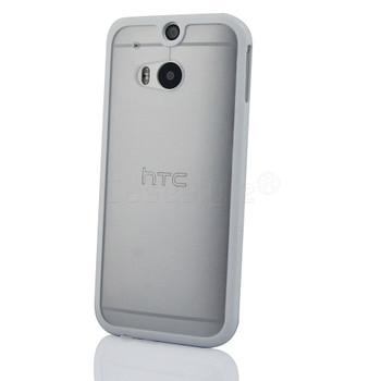 HTC One 2 M8 Bumper Case Clear Back White