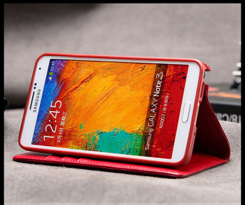Samsung Galaxy Note 3 Premium Calf Leather Wallet Case Red