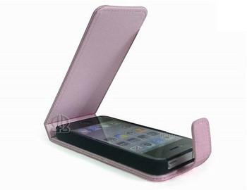 iPhone 4S Genuine Leather Crocodile Flip Case Pink