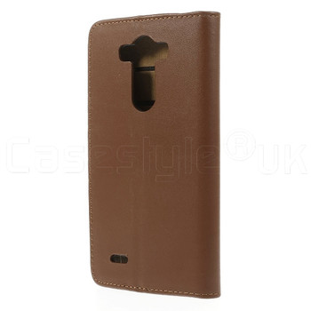LG G3 Leather Wallet Flip Case Brown