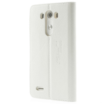 LG G3 Real Leather Flip Case White