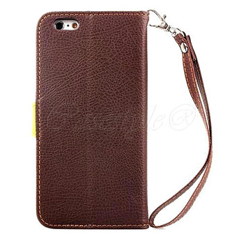 iPhone 6 6S Wallet Case Brown with Clutch