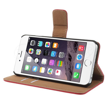 iPhone 6 6S Leather Wallet Case Red