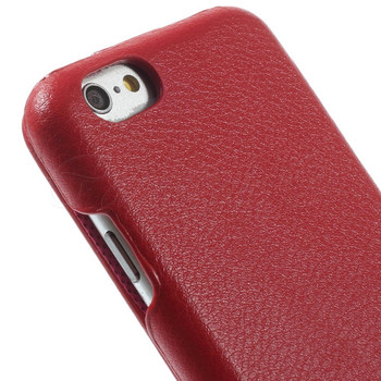 iPhone 6 6S Genuine Leather Flip Case Red