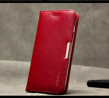iPhone 6 6S Calf Leather Deluxe Wallet Case Red