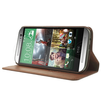 HTC One M8 Genuine Leather Slim Cover Brown