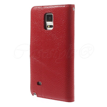 Samsung Galaxy Note 4 Real Leather Wallet Case Red