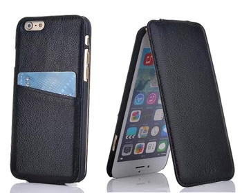 iPhone 6 6S Card Slot Leather Flip Case Black