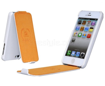 iPhone 5 5S Leather Flip Case White