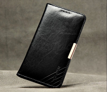 Samsung Galaxy S6 Premium Leather Wallet Cover Black