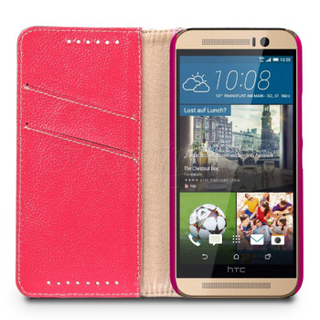 HTC One M9 Genuine Leather Wallet Case Red