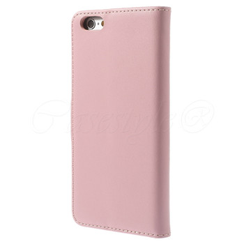 iPhone 6 6S Leather Wallet Case Soft Pink