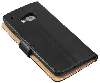 HTC One M9 Leather Wallet Cover Black