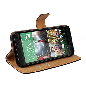 HTC One M9 Leather Wallet Cover Brown