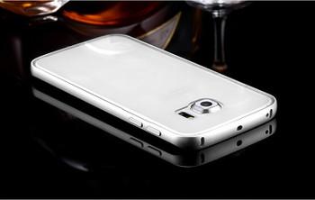 Samsung Galaxy S6 EDGE Metal Bumper Case Silver+Clear Back