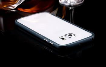 Samsung Galaxy S6 EDGE Metal Bumper Case Black+Clear Back