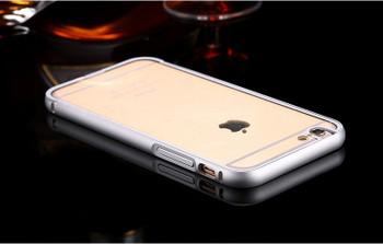 iPhone 6+6S PLUS Silver Metal Bumper Case+Clear Back