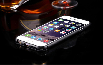 iPhone 6+6S PLUS Black Metal Bumper Case+Clear Back