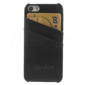 iPhone 5 5S Genuine Leather Back Cover Black