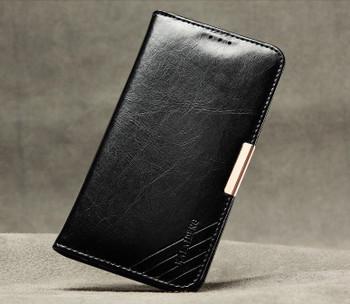 Samsung S6 EDGE Premium Leather Wallet Case Black