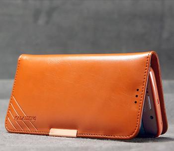 Samsung S6 EDGE Premium Leather Wallet Case Brown