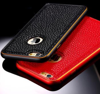 iPhone 6 6S Metal Bumper Leather Back Case Black