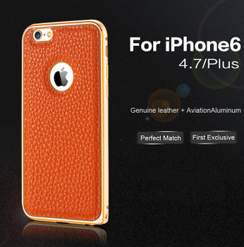 iPhone 6 6S Metal Bumper Leather Back Case Brown