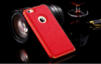 iPhone 6 6S Metal Bumper Leather Back Case Red