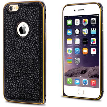 iPhone 6+6S PLUS Leather Back Metal Bumper Case Black