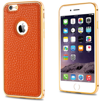 iPhone 6+6S PLUS Leather Back Metal Bumper Case Brown